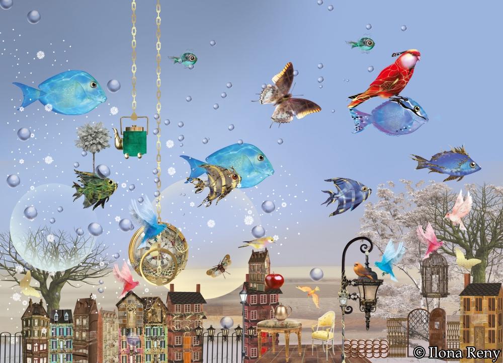 Postkarte Ilona Reny blauer Hintergrund und fliegende Fische