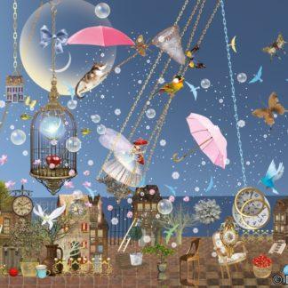 Postkarte Abeendwind Ilona Reny eine Fee schaukelt vor dem Abendhimmel