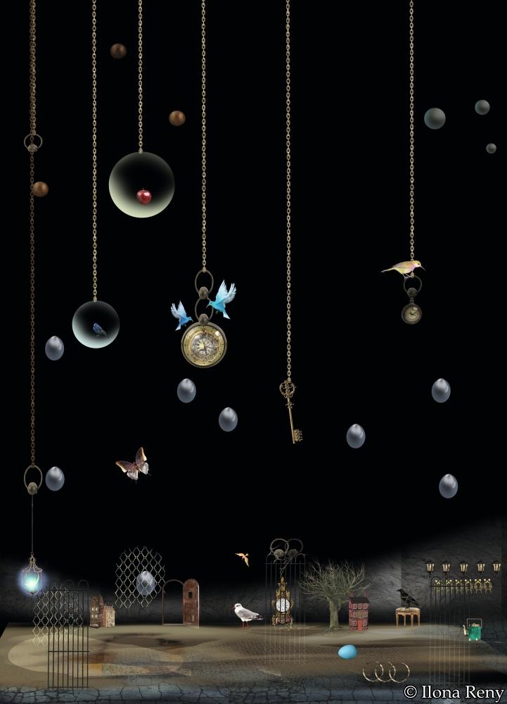 """Postkarte """"nächtlicher Regen"""" DIN A6 von Ilona Reny"""
