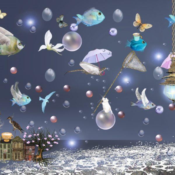 """Postkarte """"Vögel und Fische II"""" - Ilona Reny"""" DIN A6 von Ilona Reny"""