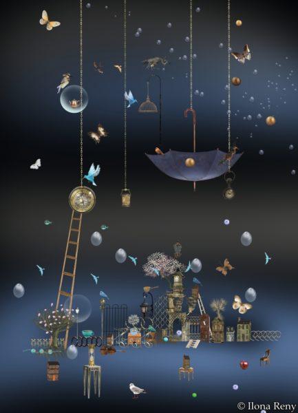 """Postkarte """"nächtlicher Regen II"""" DIN A6 von Ilona Reny"""