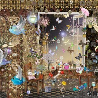 "Doppelkarte B6-Format ""Das Fenster in den Garten"" Art.Nr.: D01"