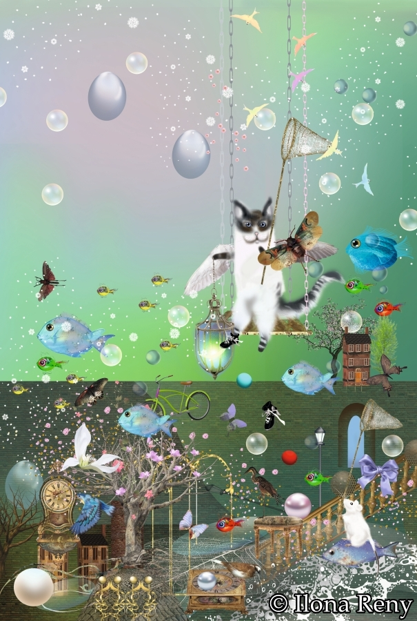 """Doppelkarte B6-Format """"Fliegende Katze"""" Art.Nr.: D07"""