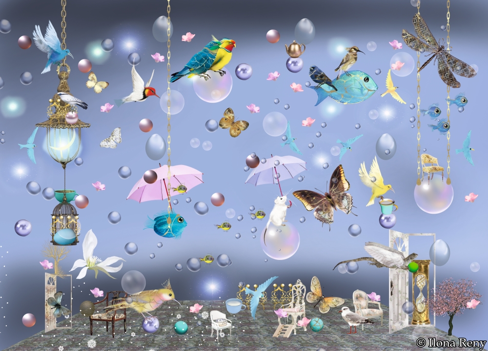 "Postkarte ""Vögel und Fische I"" - Ilona Reny"