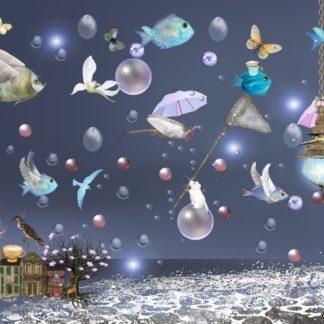 "Postkarte ""Vögel und Fische II"" - Ilona Reny"