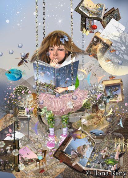 """Postkarte """"Ins Lesen vertieft"""" Art.Nr.: P32"""