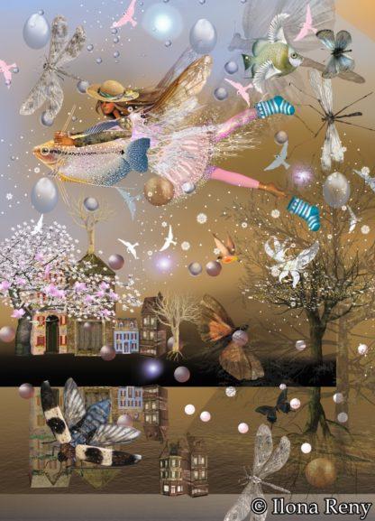"""Postkarte """"Mit den Fischen in den Süden"""" Art.Nr.: P33"""
