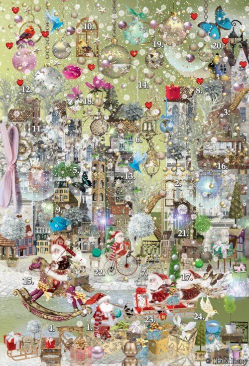 """Adventskalender """"Grünes Weihnachten"""" von Ilona Reny im Grußkartenformat, Weihnachtsmänner reiten Schaukelpferd, fahren Skateboard. Weihnachtskugeln, Schnee, Vögel, Schmetterlinge"""