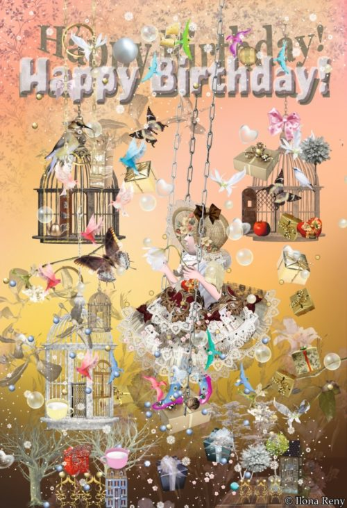 """Grußkarte """"Happy Birthday Little Fairy"""" Girl in Vintag Dress with open cages butterflies, birds and many presents"""