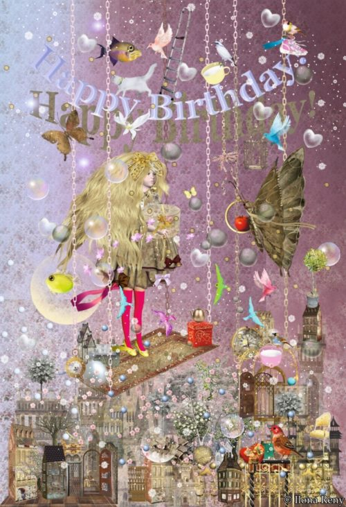 Happy Birthday- Card by Ilona Reny Girl with big Blonde Hair stands on a wooden log hanging from the sky, under her old houses with trees hanging on roofs, a butterfly carries an apple for her, many presents in the air