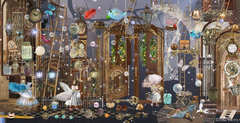 """Postkarte """"Angels in the evening"""" von Ilona Reny. Blau-braune Farben. Übergroße Türen, Menschen und Engel, Fische, Herbstblätter, Bäume"""