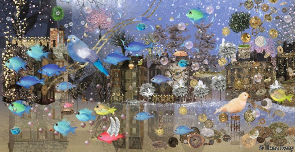 """Postkarte """"Timeless Moment"""" von Ilona Reny. Viele Fische und Vögel, Blauer Himmel, Wasser, in der Luft schweben Perlen, goldene Kugeln, Schnee, Sterne, im Hintergrund sind Bäume und Häuser"""