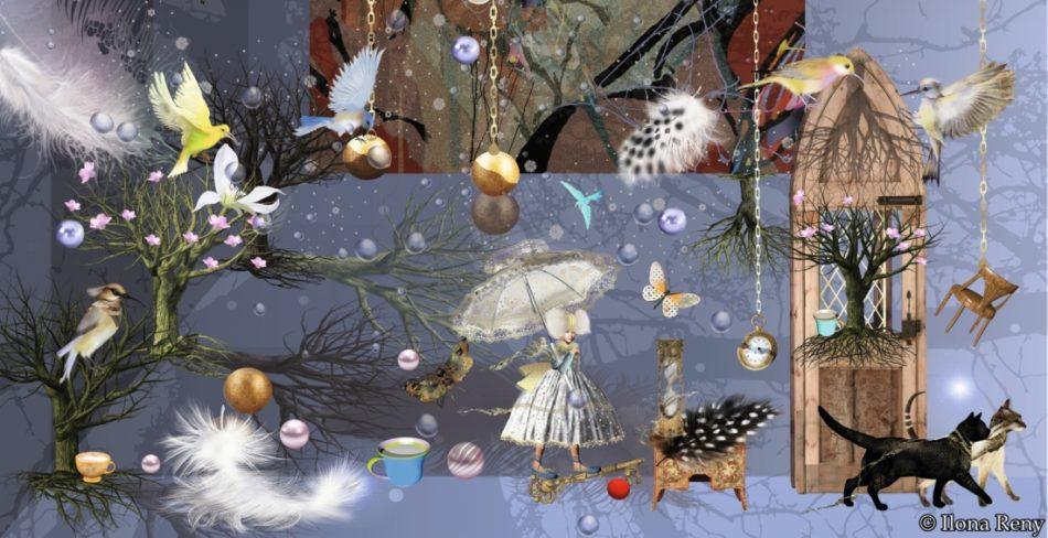 """Postkarte """"Dark Golden Night"""" von Ilona Reny. Blauer Hintergrund, Fee, Katze, Federn, Vögel, Bäume"""