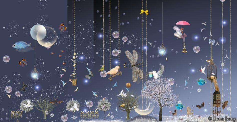 """Postkarte """"Night Sky Blue"""" von Ilona Reny. Blauer Himmel mit Schneeflocken und Sternen, weiße Bäume, Fische, Vögel, Mäuse, eine Fee und Schmetterlinge. Eine Vogelschaukel hängt an Ketten vom Himmel."""