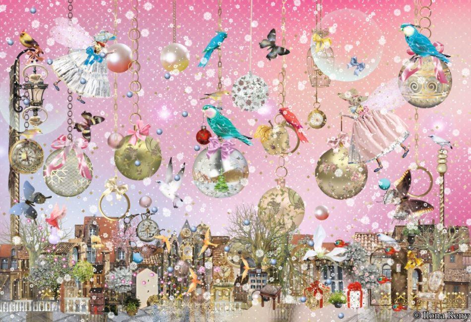 """Weihnachts-Doppelkarte """"Rosa-Gold"""" von Ilona Reny: rosa Himmel, goldene Weihnachtskugeln hängen an Ketten vom Himmel, Feen, Vögel, alte Stadt."""