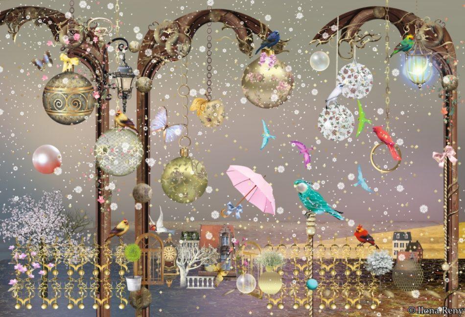 Weihnachtskarte von Ilona Reny grauer Himmel, bunte Vögel, Regenschirme, Weihnachtskugeln, Schnee