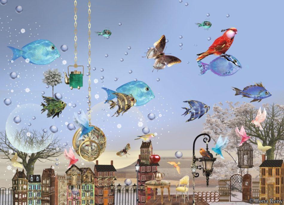"""Postkarte """"Fische im Himmel"""" von Ilona Reny Blaue Fische am blauen Himmel, Bunte Vögel, alte Stadt"""