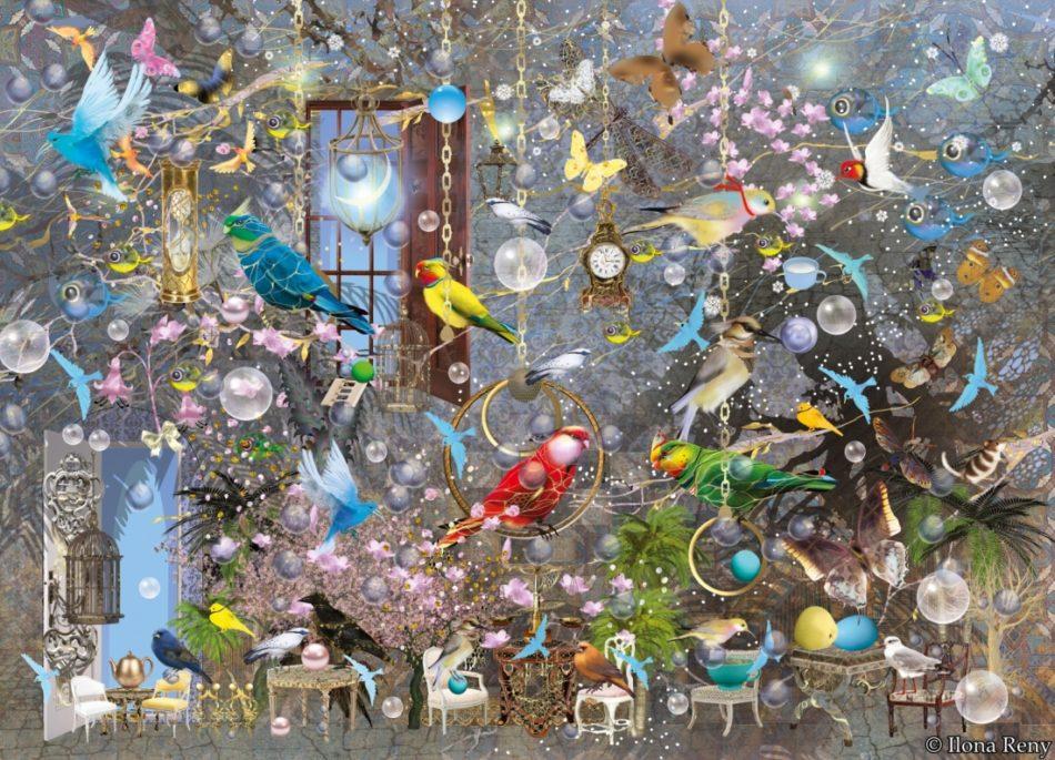 """Postkarte von Ilona Reny """"Viele bunte Papageien"""" Viele Papageien, Vogelschaukeln, Blumen, viele Sessel"""