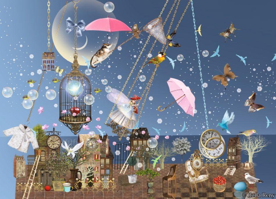 """Postkarte """"Abendwind"""" von Ilona Reny. Tiefblauer Himmel, Fee auf einer Schaukel, fliegende Fische, Schmetterlinge, alles schwebt über einer alten Stadt."""
