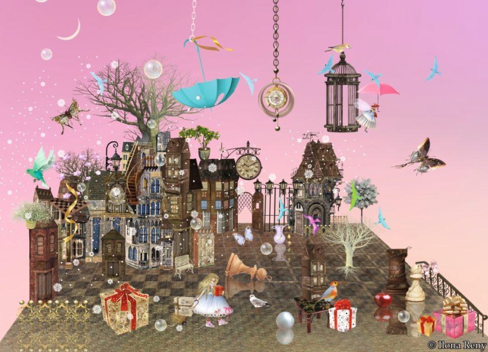 """Postkarte """"Rosa Traum"""" von Ilona Reny, rosaner Himmel, Schachbrett, alte Häuser, Bäume, Geschenke, Feen"""