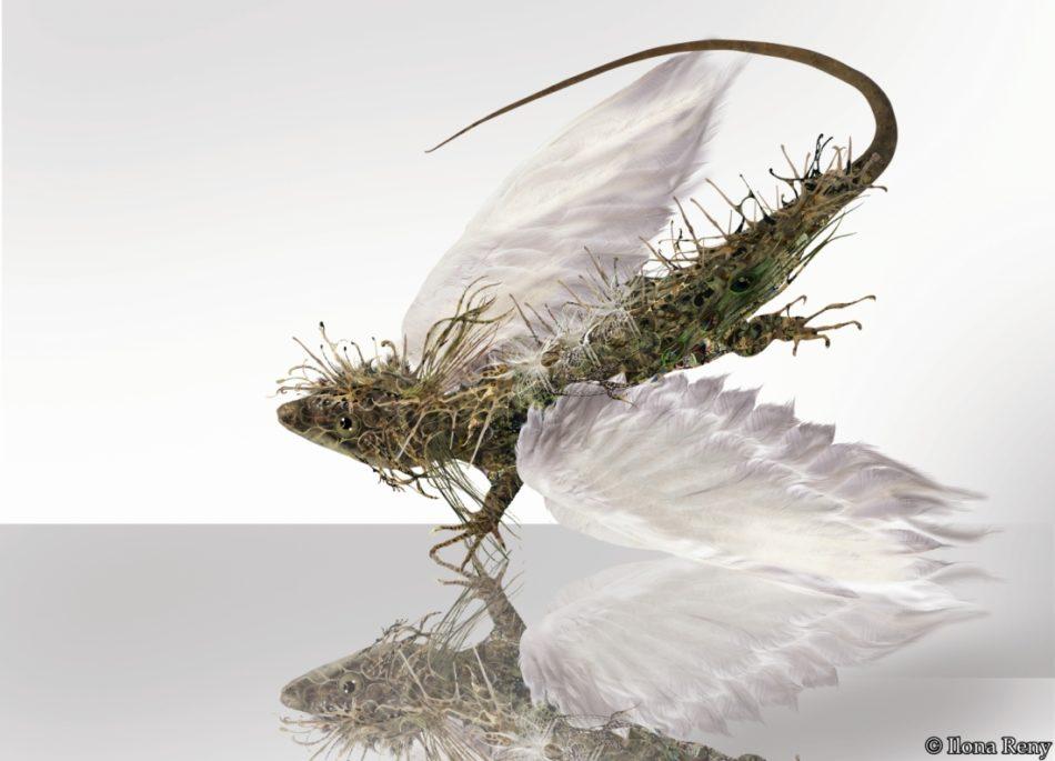 """Postkarte """"Drachen I"""" kleiner grüner Drache mit weißen Vogelflügeln"""