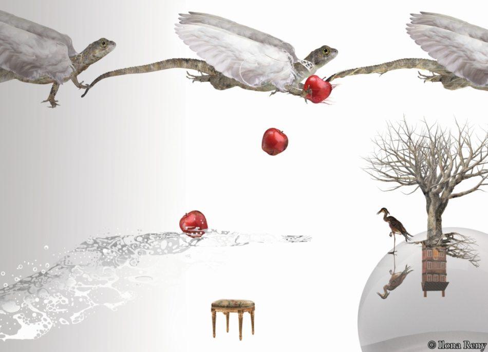 """Postkarte """"Drachen III"""" zeigt 3 fliegende Drachen mit weißen Flügeln. Die mittlere Eidechse lässt rote Kirschen fallen"""