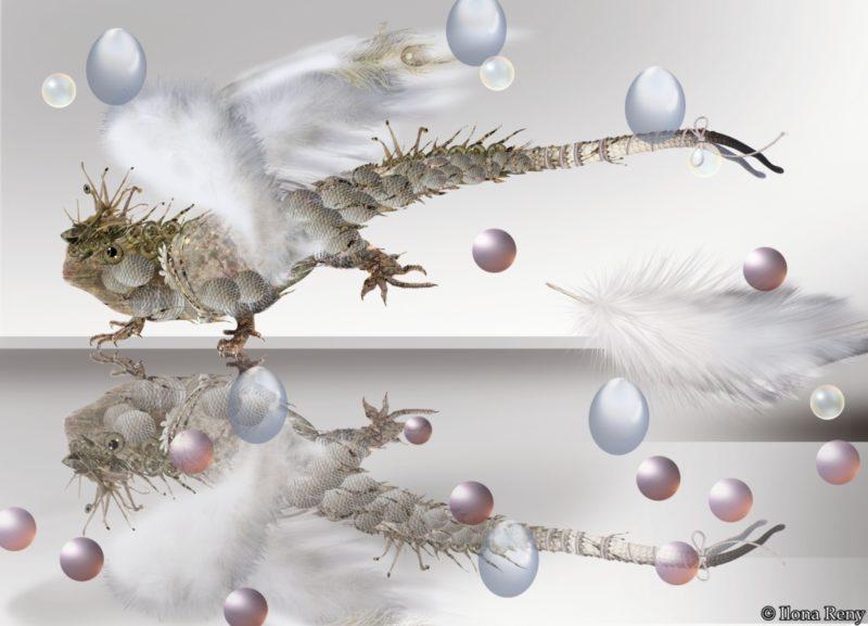 """Postkarte """"Drachen IV"""" von Ilona Reny Drache mit weißen Federn und Regentropfen auf weißem Hintergrund"""