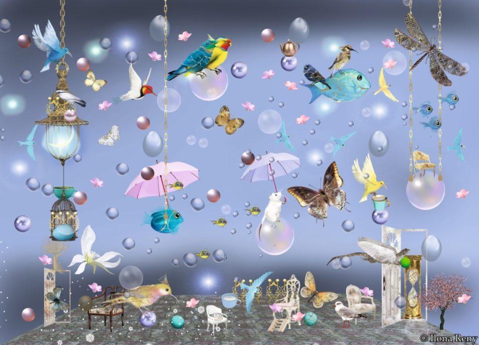 """Postkarte """"Vögel und Fische I"""" von Ilona Reny: Verträumte hellblaue Postkarte mit vielen bunten Vögeln, Fischen, Drachen und Mäusen mit Regenschirmen."""