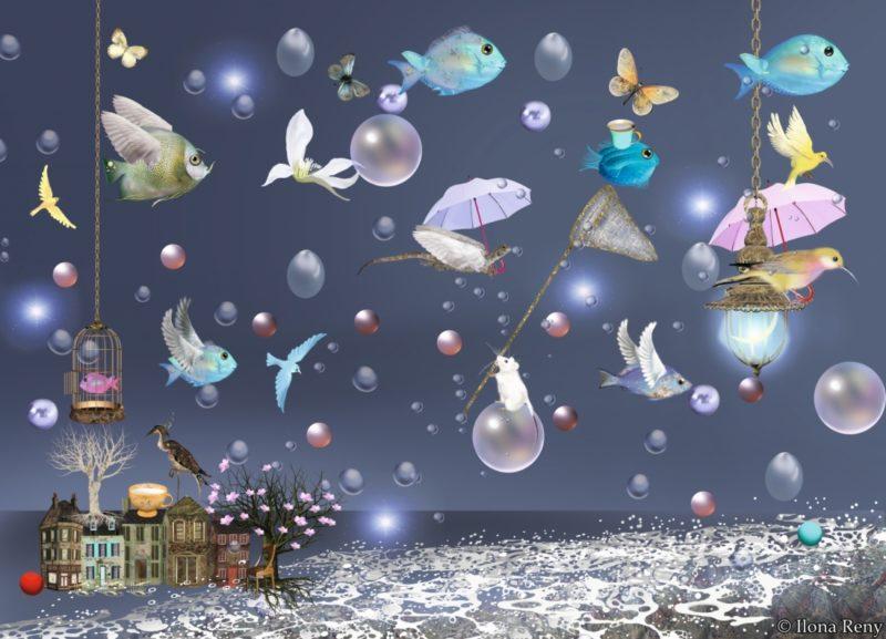 """Postkarte """"Vögel und Fische II"""" von Ilona Reny Verträumte dunkelblaue surreale Postkarte mit vielen bunten Vögeln, Fischen, Mäusen und Drachen, Regentropfen und Regenschirmen. Unter ihnen einige Häuser und Meereswellen."""
