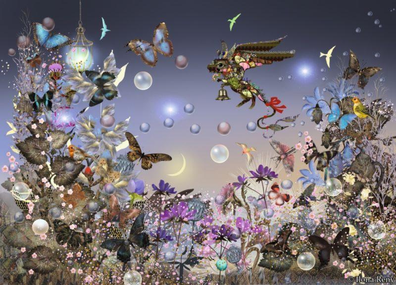 """Postkarte """"der Elfendrache"""" von Ilona Reny: Diese blau-violette Postkarte zeigt eine märchenhafte Welt mit einem kleinen Elfendrachen aus dem Buch """"Kleine Enzyklopädie der Drachen"""". Der Drache fliegt über einer Wiese voller Schmetterlinge"""