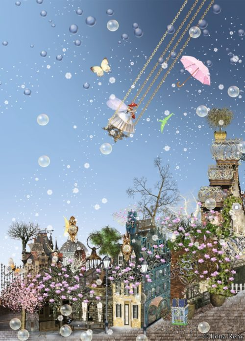 """Postkarte """"Schaukel dich hoch"""" von Ilona Reny zeigt eine sehr hohe Schaukel im Himmel, auf welcher eine Fee in weißem Kleid und mit Schmetterlingsflügeln schaukelt."""