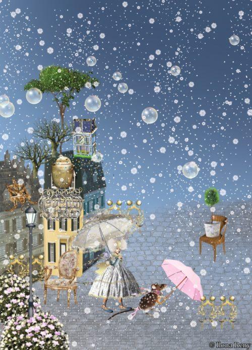 """Postkarte """"Zuckerfee"""" von Ilona Reny. Eine Fee in weißem Feenkleid geht mit einer Maus vor die Stadt spazieren. Beide tragen einen Schirm."""