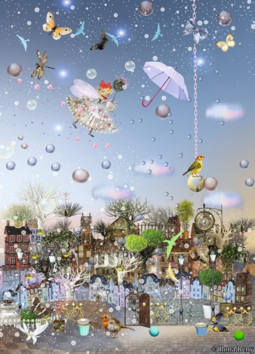 """Postkarte """"Ein Feentraum"""" von Ilona Reny. Eine Fee in weißem Feenkleid schwebt hoch über den Dächern einer Altstadt."""