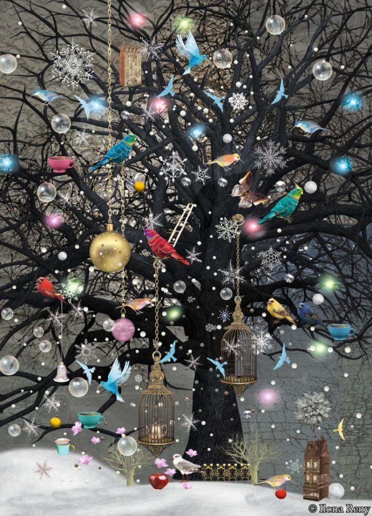 Postkarte Ilona Reny: schwarzer Baum, geschmückt mit goldenen Weihnachtskugeln, Vögeln und leeren Käfigen