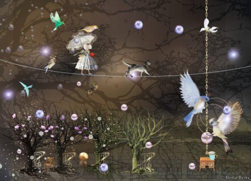 """Postkarte """"Balance"""" von Ilona Reny. Eine Fee und eine Katze gehen auf einem Balance-Seil in der Nacht."""