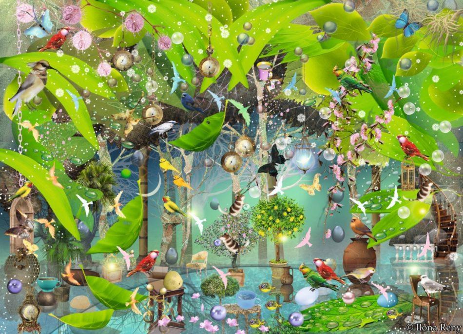 Postkarte Ilona Reny Grüne Blätter im Halbrund im oberen Bereich, Schmetterlinge, Vögel, Wimmelbild