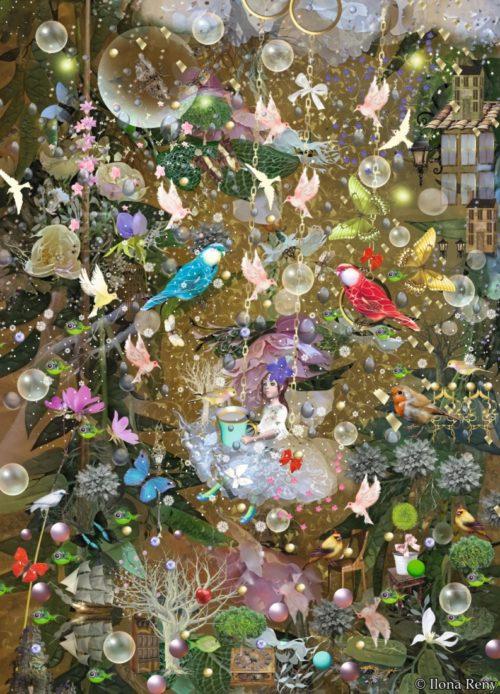 Postkarte Feenzauber Ilona Reny Mädchen auf Schaukel viele bunte Vögel