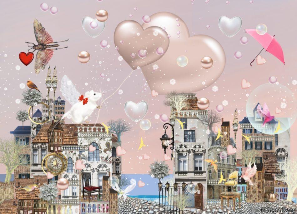 """Postkarte Ilona Reny """"Lass Dein Herz aufsteigen"""". Weiße Maus steht auf dem Dach und lässt Herzluftballons aufsteigen"""