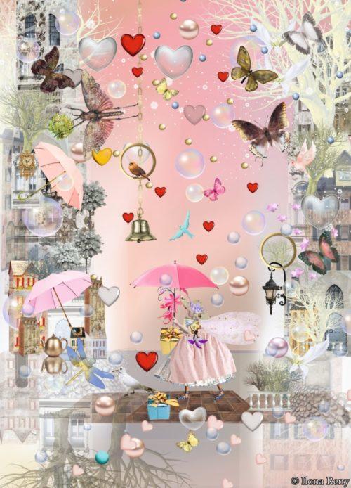 Postkarte von Ilona Reny Eine Fee mit rosanem Schirm steht unter Regen aus roten Herzen