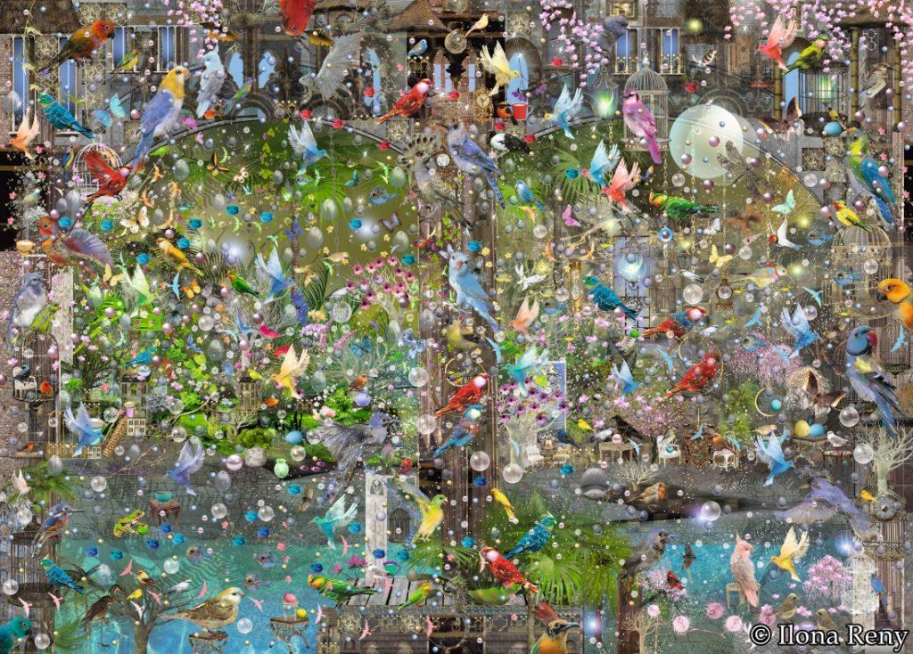 Poster/Fototapete Ilona Reny: viele bunte Vögel sitzen auf Ästen und am Gebäude
