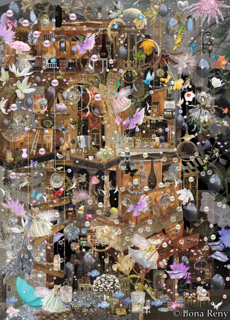 Poster/Fototapete Ilona Reny: Haus mit Etagen und Kolonnen mit Feen, Vögeln und Blumen