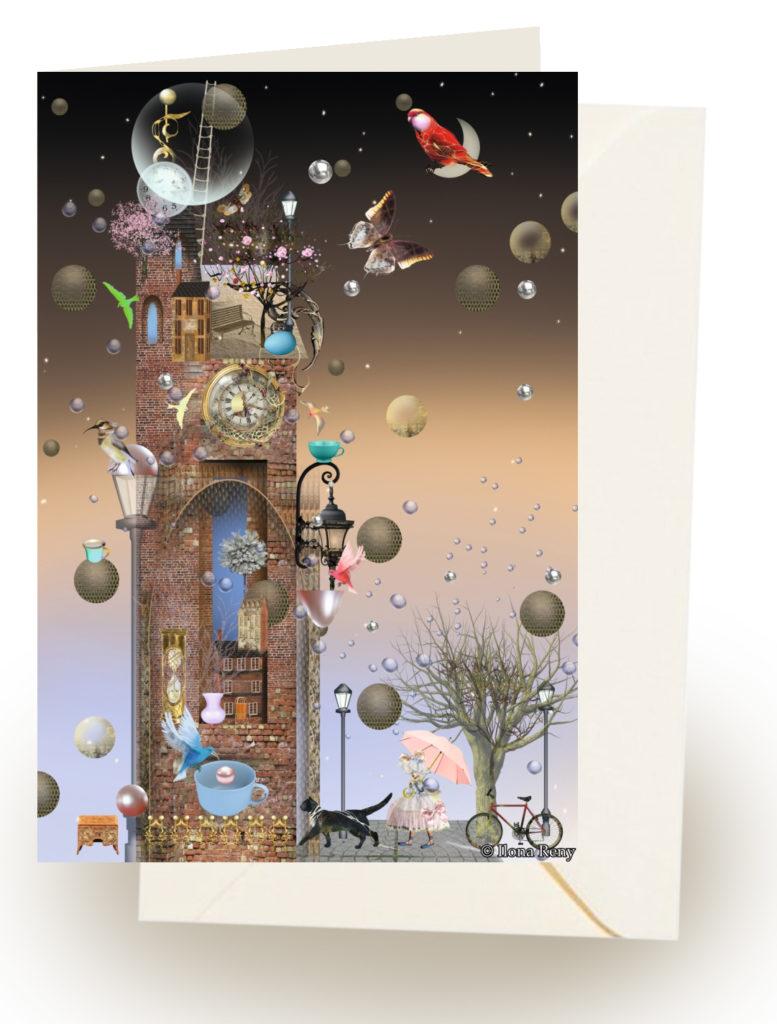 Grußkarte Ilona Reny Alter Turm in der Abenddämmerung mit Umschlag