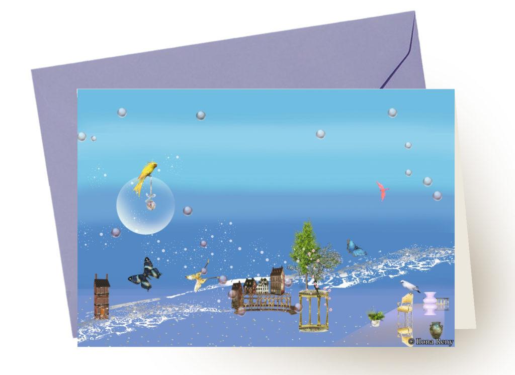 Grußkarte Ilona Reny mit blauem Umschlag: blauer Himmel und Meer, Schmetterlinge und bunte Vögel
