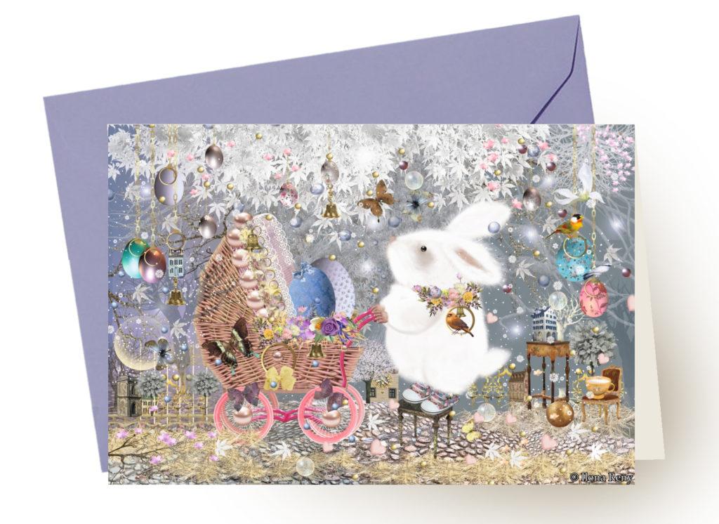 Grußkarte Ostern Ilona Reny mit blauem Umschlag: weißer Osterhase und ein Kinderwagen mit Eiern