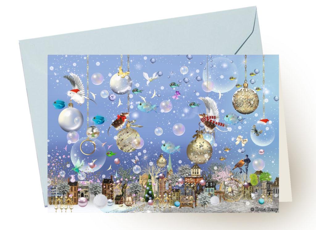 Grußkarte Ilona Reny mit blauem Umschlag: Zwei Mäuse auf goldenen Weihnachtskugeln über einer Stadt auf blauem Hintergrund