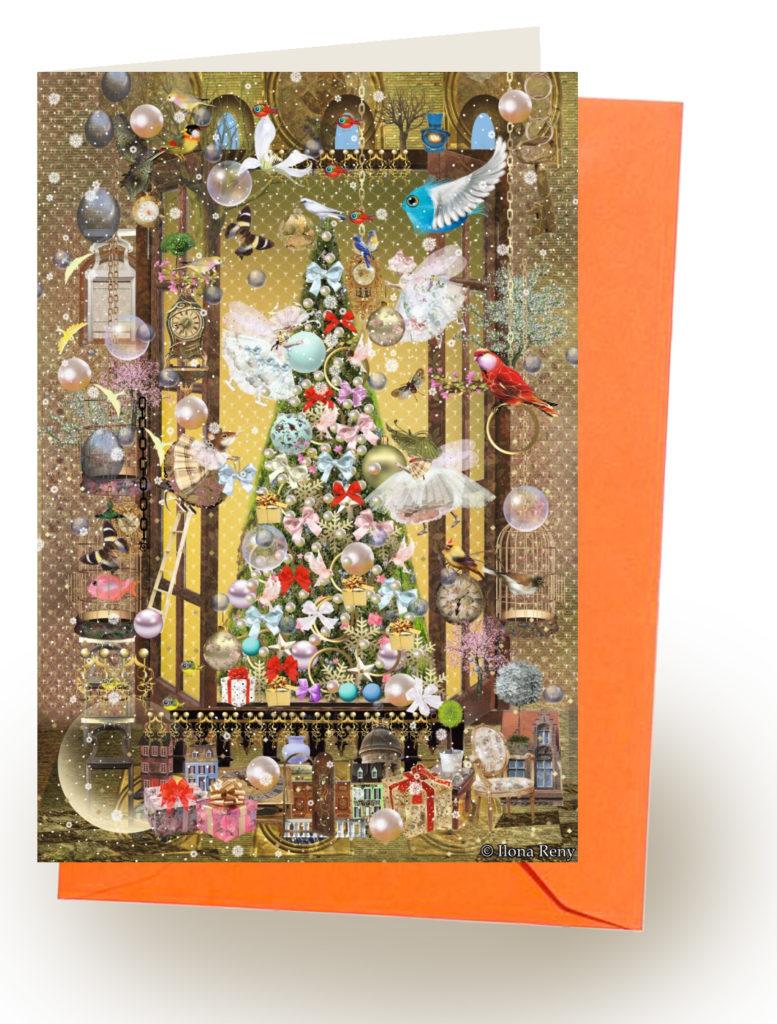 Grußkarte Ilona Reny mit orange Umschlag: Feen schmücken Weihnachtsbaum