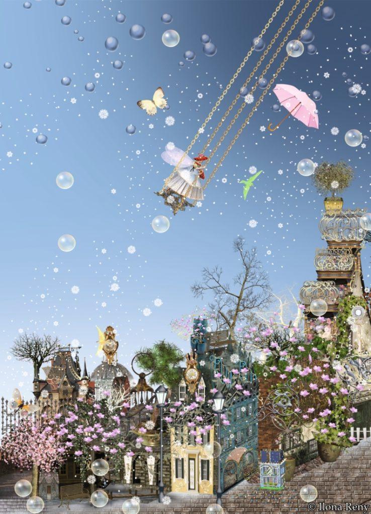 Postkarten Ilona Reny:  Fee schaukelt auf blauem Himmel über kleiner Stadt