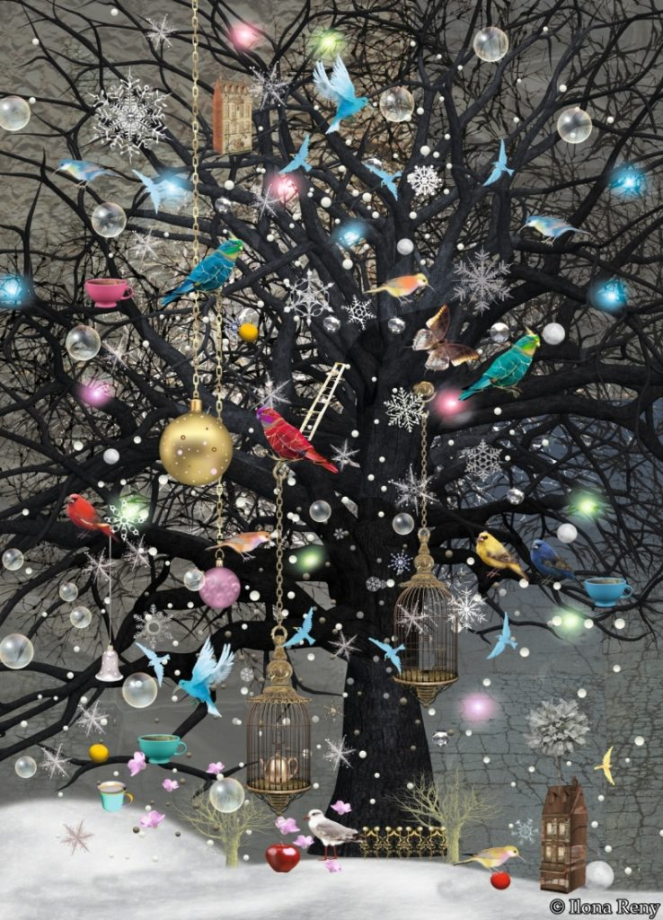 Postkarten Ilona Reny Schwarzer Baum mit Weihnachtskugeln, bunten Vögeln und Schnee