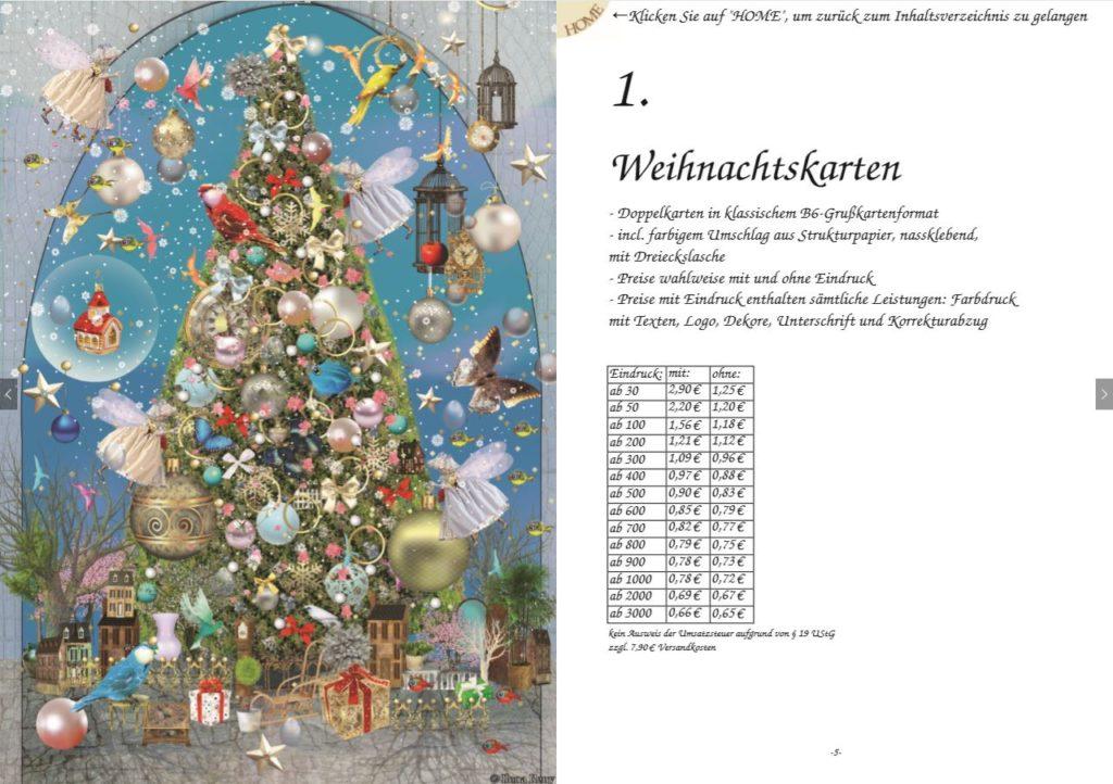Weihnachtskarten Katalog Ilona Reny Doppelseite mit Preisen für Grußkarten, Feen schmücken Weihnachtsbaum