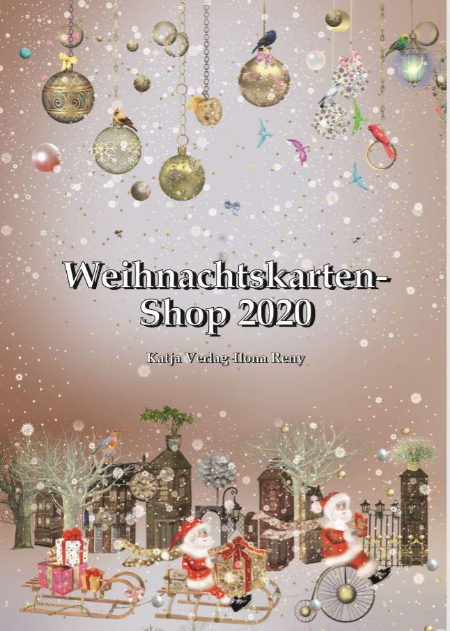 Katalog Weihnachts-Grußkarten Ilona Reny, 3 Weihnachtsmänner auf Schlitten und Fahrrad, goldene Weihnachtskugeln, Schnee
